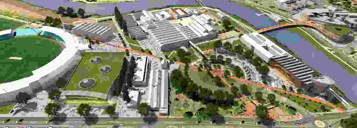 "UTAS Launceston campus concept by McBride Charles Ryan. The ""teaching and learning"" centre is left, the ""gateway"" building right."