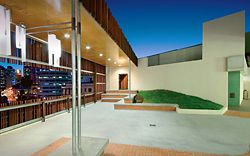 The pool courtyard looks across Boundary Street out to the city.Image: Christopher Frederick Jones