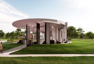 Serpentine Pavilion 2020 designed by Counterspace, Design Render, Exterior View.