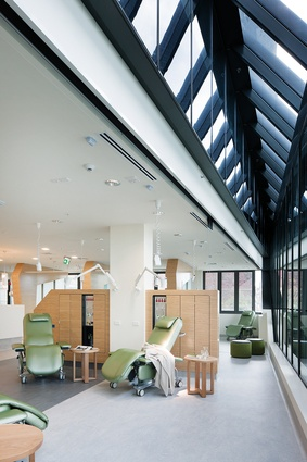 Treatment areas have ample access to natural light, while timber joinery conceals hospital equipment.