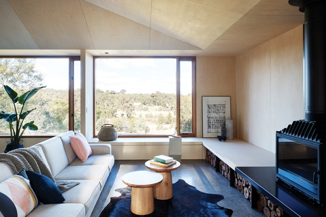An earthy palette evokes the hues of the surrounding bush and eucalyptus trees. Artwork: Architectural print by A. Lethbridge.