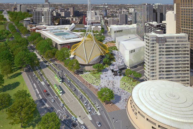 The proposed redevelopment of Melbourne's Southbank arts precinct will include two new buildings and a new public space.