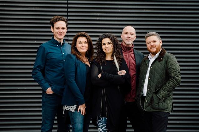 The 2015 Eat Drink Design Awards jury. From left to right: designer Stuart Krelle, chef and restaurateur Karen Martini, designer Pascale Gomes-McNabb, AFR design editor Stephen Todd and Cameron Bruhn.
