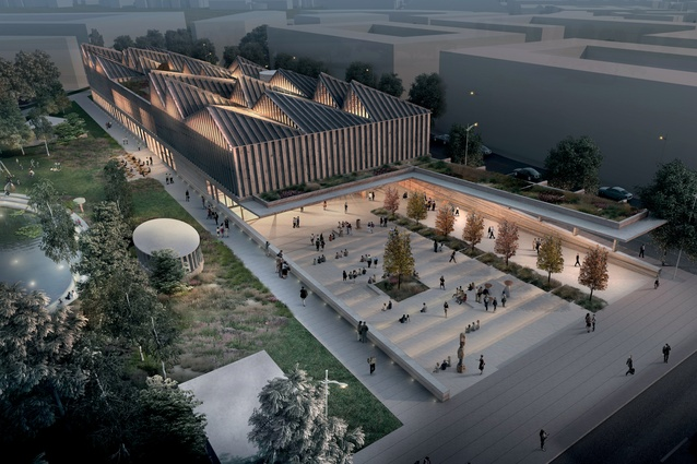 A rendering of Adjaye Associate's Latvian Museum of Contemporary Art, the centrepiece of New Hanza City in Riga. The form resonates with traditional domestic Baltic architecture.