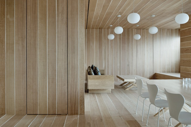 Douglas fir timber was used to create an interior that references the calm and warmth of nature.