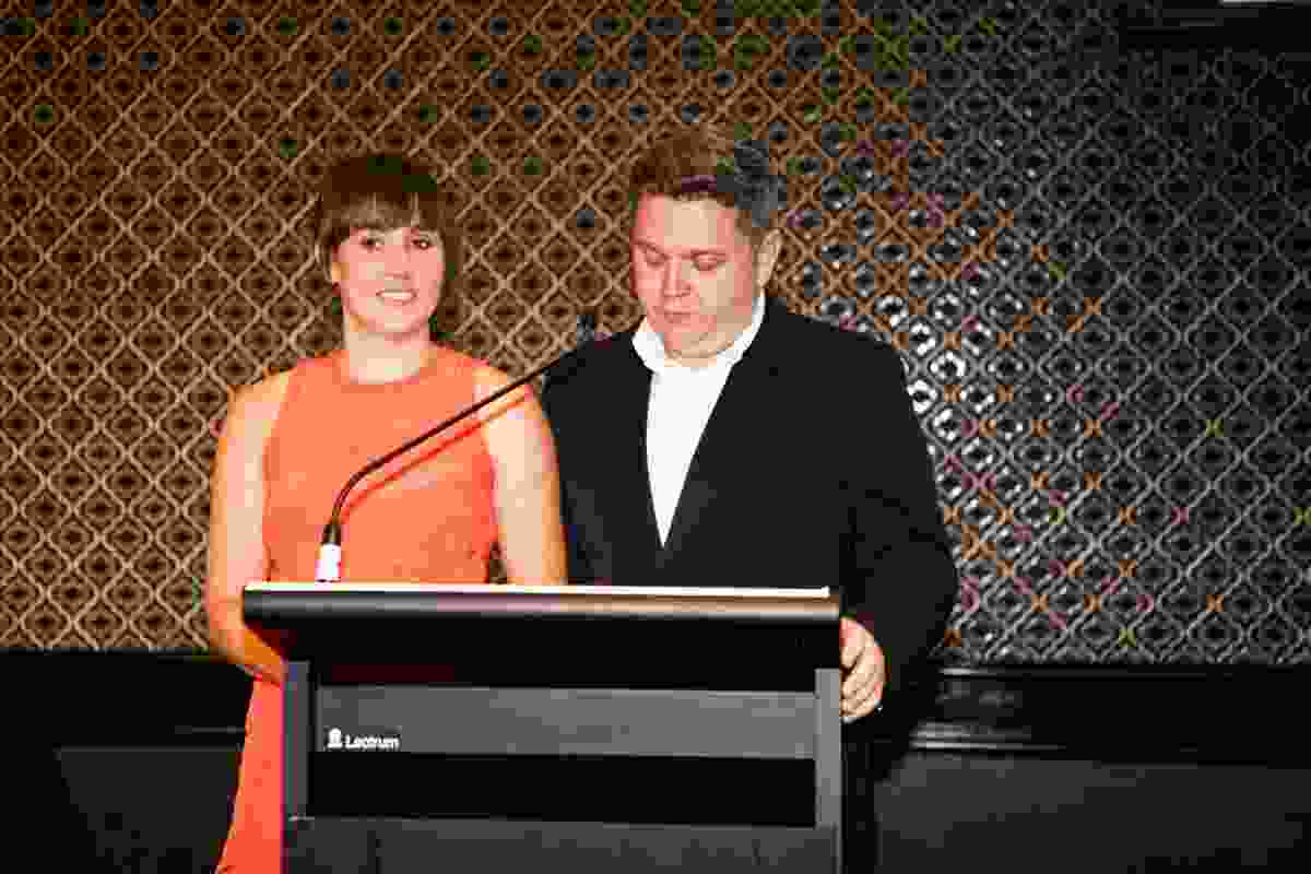 Houses Awards 2014 hosts Katelin Butler (Houses editor) and Cameron Bruhn (editorial director).