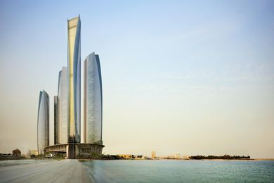 Etihad Towers in Abu Dhabi by DBI Design. The central tower is occupied by the hotel Jumeriah at Etihad.