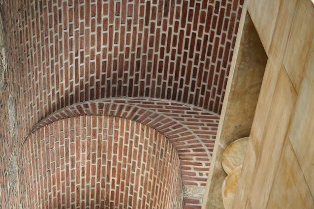 Detail of Plečnik's stairway.