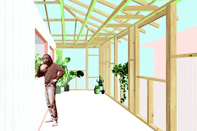 Perspective of the verandah in the Offset House by Otherothers.