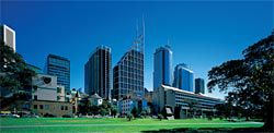 Panoramic view of Sydney towers from The Domain, with Deutsche Bank Place in the centre. Image: Richard Glover