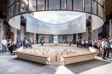Atrium of Holy Angels Mausoleum by Harmer Architecture.