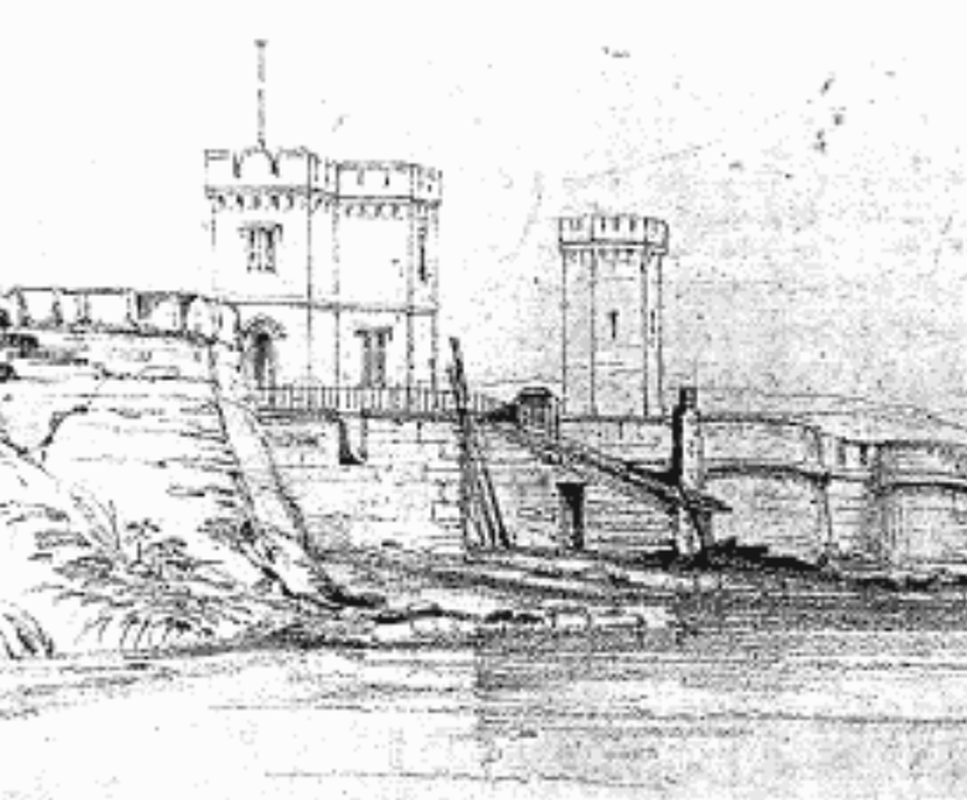Conrad Martens' sketch of Macquarie Fort, 16 September 1835, showing a lime kiln on the harbour edge.