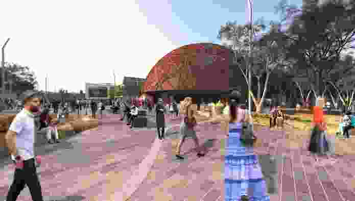 A proposed Tasmanian Aboriginal history centre in MONA's vision for the redevelopment of Macquarie Point designed by Fender Katsalidis and Rush Wright.