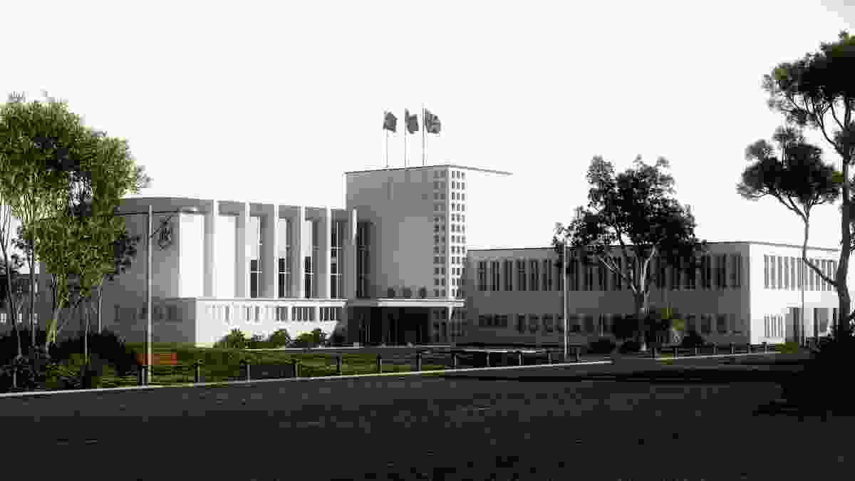 Adelaide Boys' High School by Frederick Romberg (competition entry 1939) Digital reconstruction by Hannah Bartlett-Wynne.