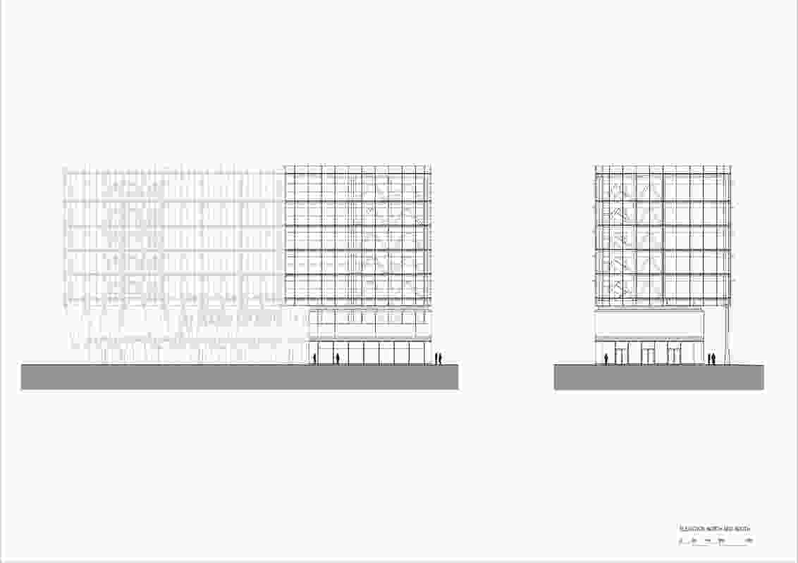 Elevations for International House Sydney by Tzannes.