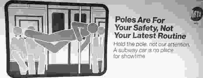 A sign in a subway carriage, New York, USA.