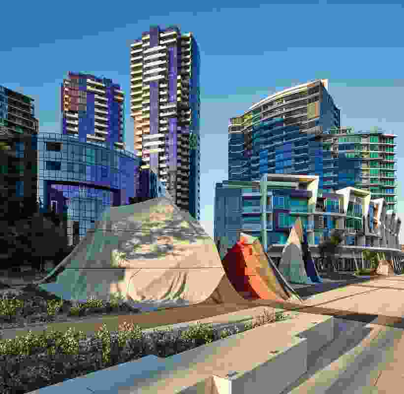 Monument Park sits between Victoria Harbour and the new McBride Charles Ryan-designed development The Quays.
